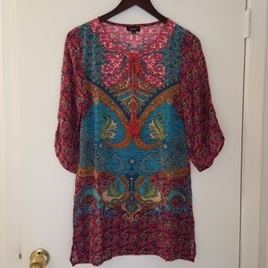 New Tolani Paisley floral silk tunic xs